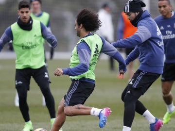 Marcelo en un entrenamiento con el Real Madrid