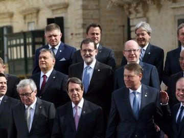 Líderes europeos en la cumbre de Malta