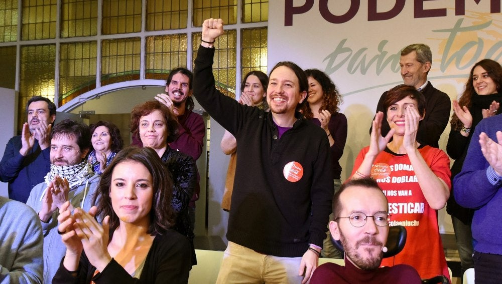 Pablo Iglesias durante su primer mitin de campaña 'Podemos para todas'