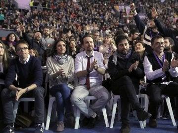 Iglesias, Montero y Errejón tras conocer la victoria de Iglesias