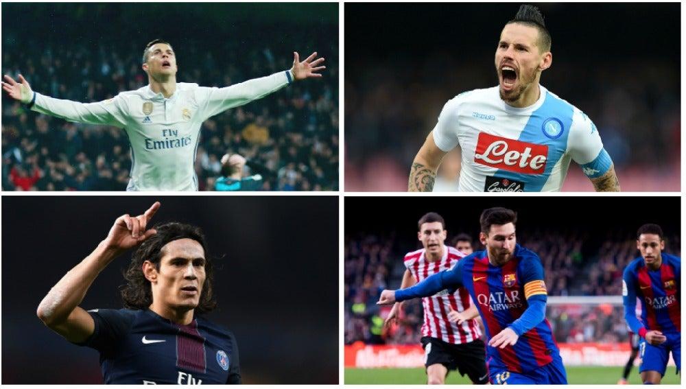 Ronaldo, Hamsik, Cavani y Messi