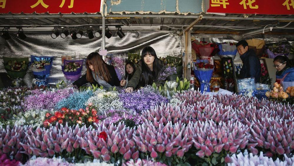 Flores para San Valentín en el Parque del Pueblo en Shanghái
