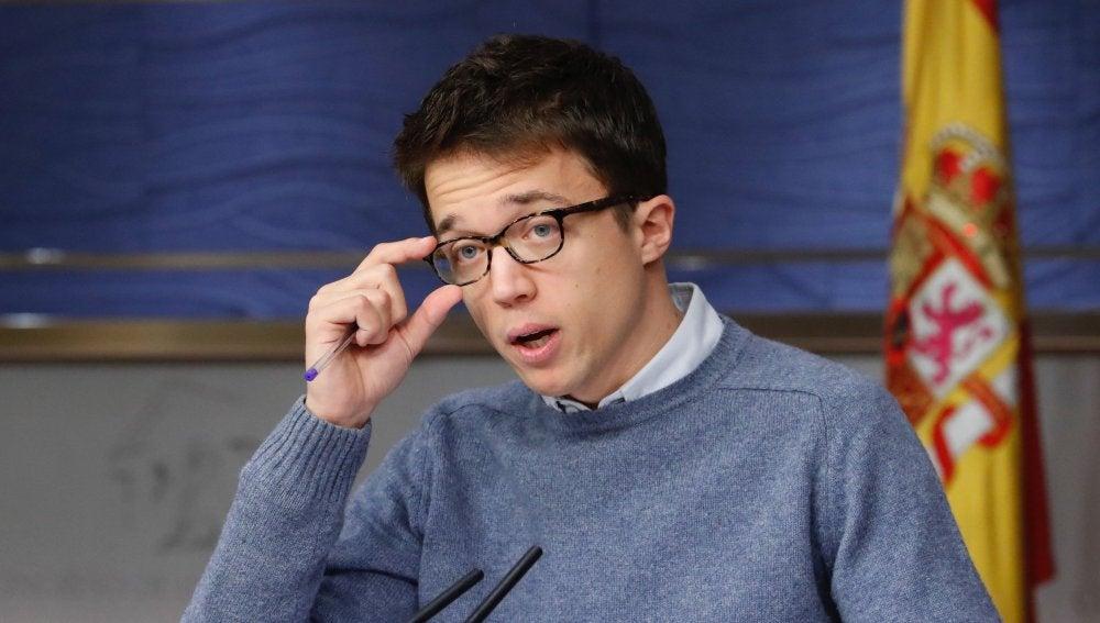 Íñigo Errejón durante la rueda de prensa
