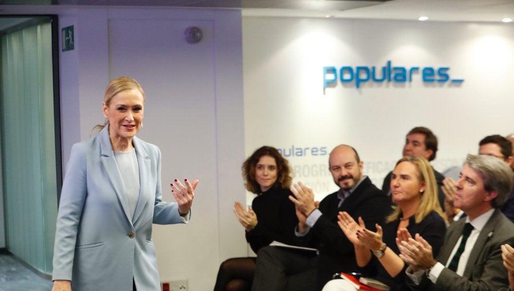 Cristina Cifuentes a su llegada a la reunión de la gestora del PP madrileño