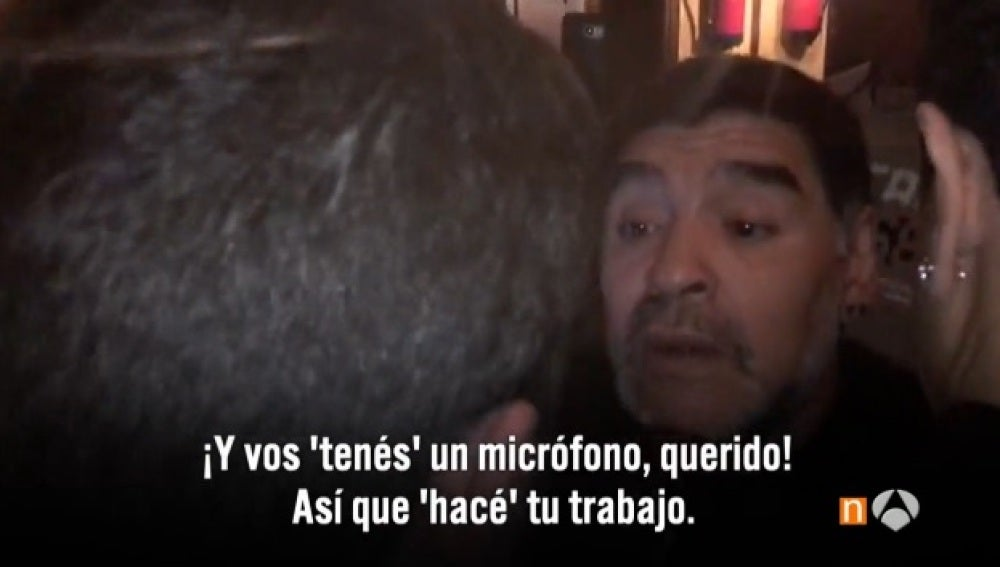 Maradona se encara con un periodista en su hotel en Madrid