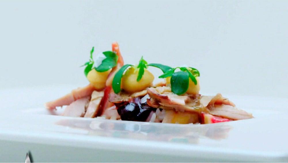 Perdiz estofada con higos y arroz basmati