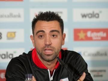 Xavi en una rueda de prensa