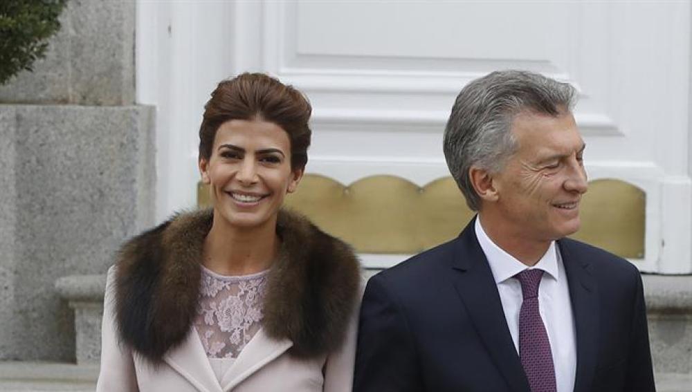 El presidente de Argentina, Mauricio Macri, y la primera dama Juliana Awada