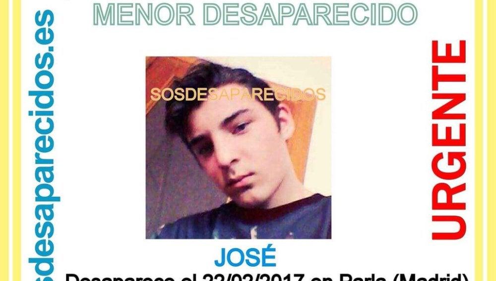 José, menor de edad desaparecido en Parla