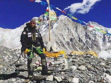 Alex Txikon, en el campo base del Everest