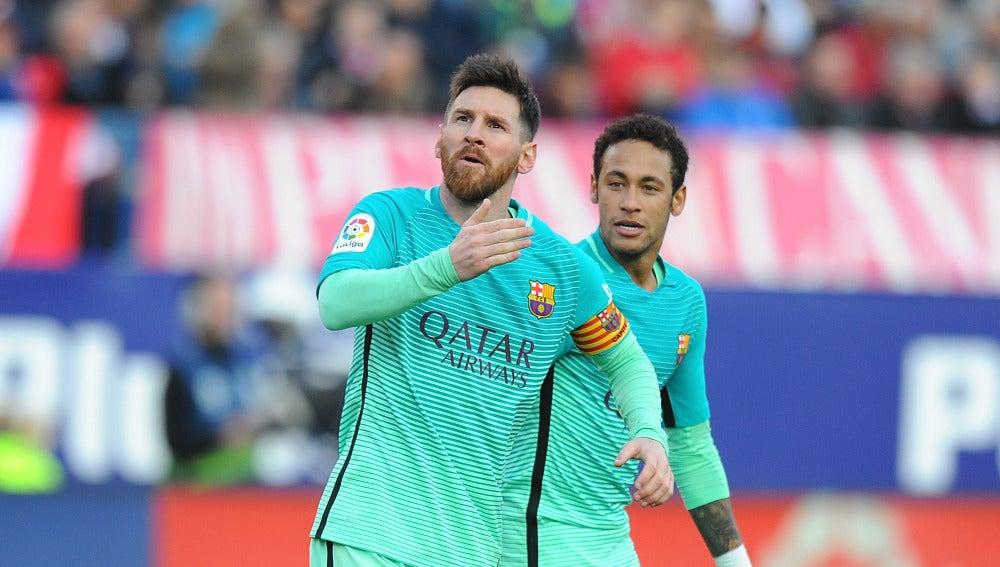 Leo Messi celebra su gol contra el Atlético de Madrid
