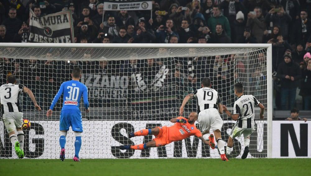 Dybala bate a Pepe Reina desde el punto de penalti