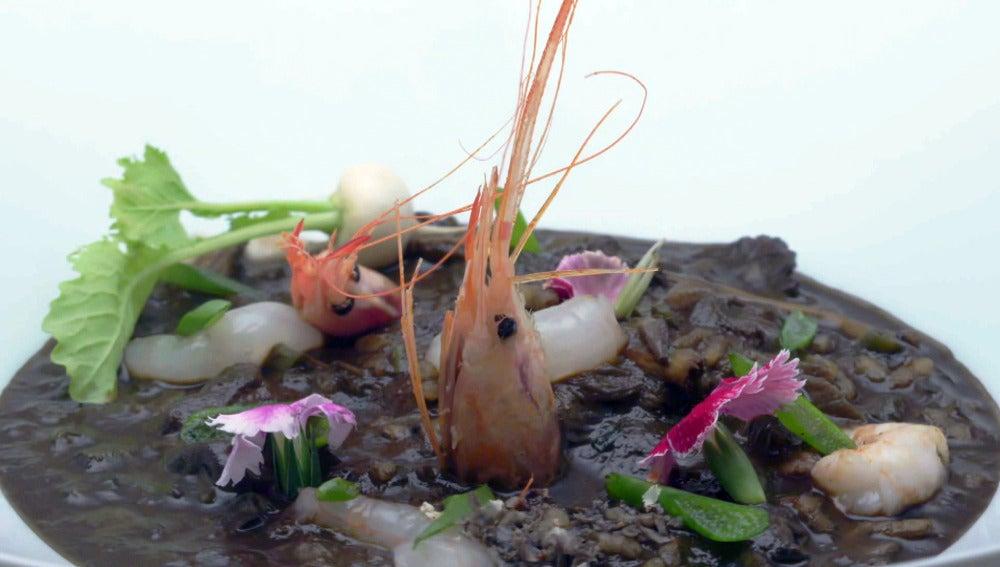 Arroz de setas y verduras con quisquilla