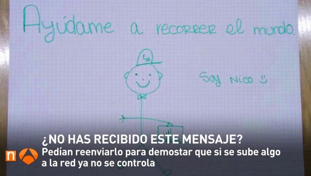 Frame 30.697869 de: ¿Has recibido el 'mensaje de Nico'? El experimento de una profesora de Torrejón de Ardoz que se ha vuelto viral a través de Whatsapp