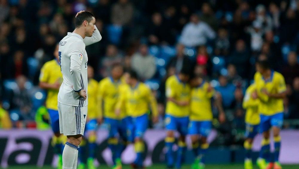 Cristiano se lamenta tras un gol de Las Palmas
