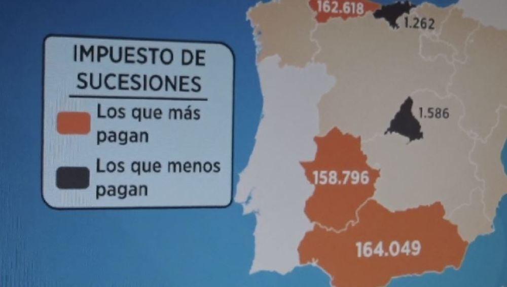 Mapa del impuesto de sucesiones