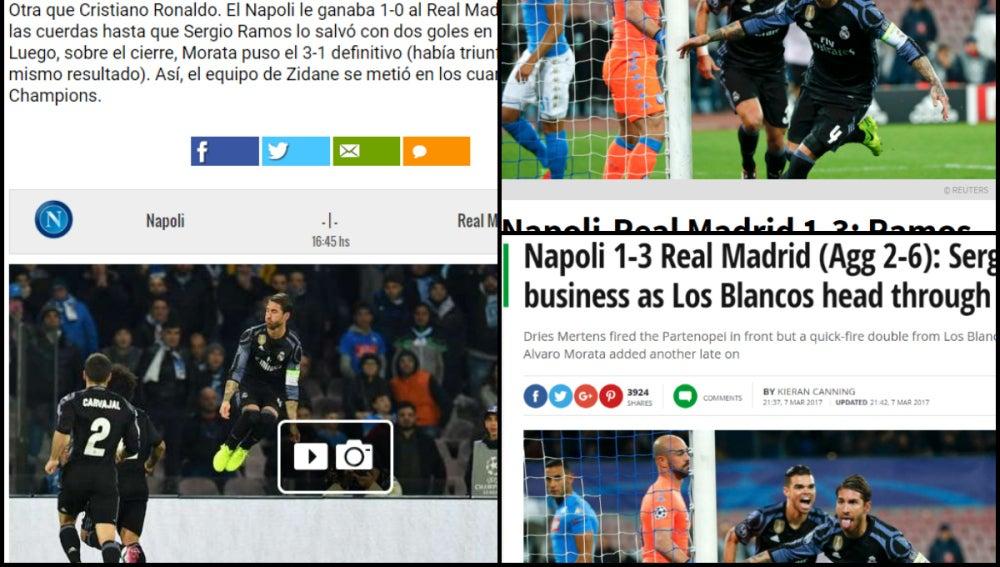 Las portadas de los principales medios tras la victoria del Madrid en Nápoles