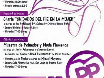 Programa para celebrar el Día Internacional de la Mujer del PP de Rota