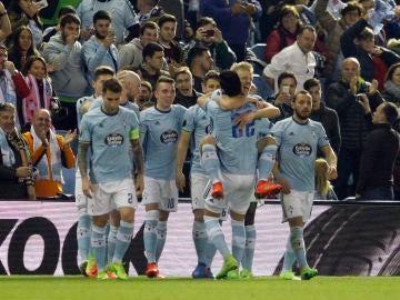 Los jugadores del Celta celebran un gol ante el Krasnodar en Balaídos