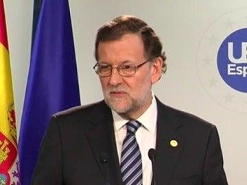 Mariano Rajoy durante su rueda de prensa en Bruselas