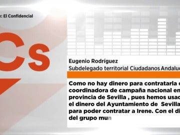 Frame 23.557333 de: Un dirigente de Ciudadanos en Andalucía relata cómo contratar a una asesora con fondos del grupo municipal