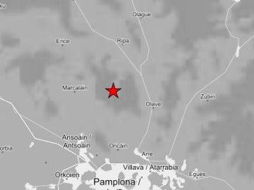 Epicentro del terremoto en Navarra