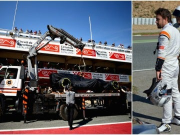 El McLaren, subido en la grúa