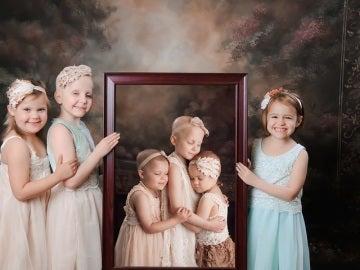 Foto de tres niñas supervivientes del cáncer