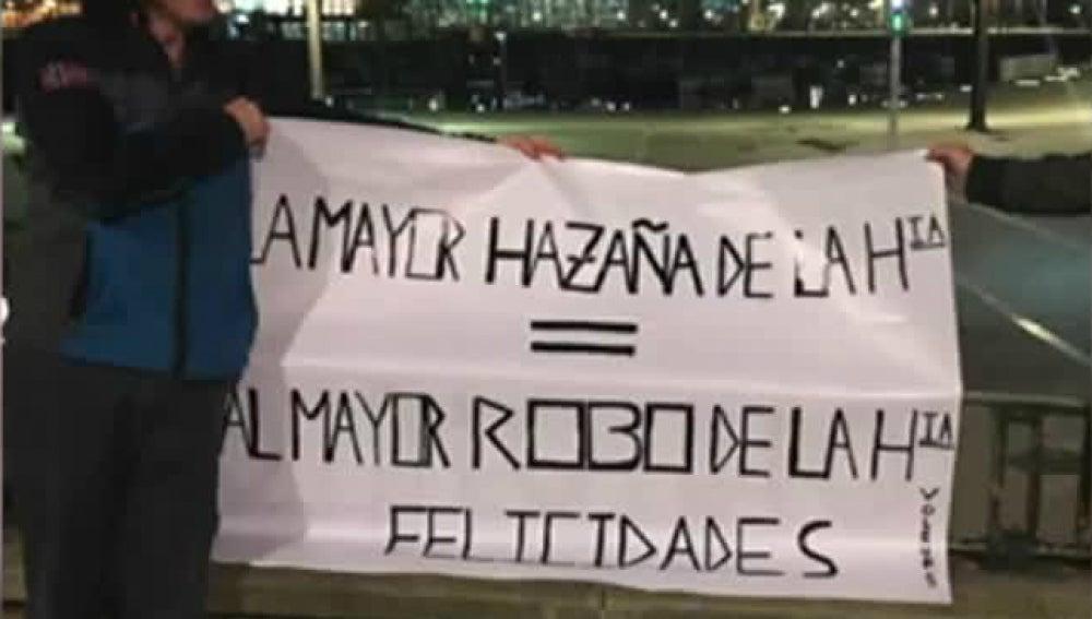 Pancarta de un aficionado del Deportivo