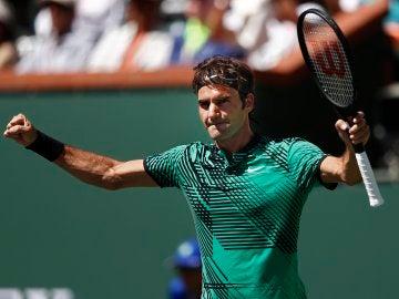 Roger Federer celebrando un punto