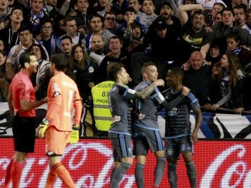 Aspas celebra un gol ante el Deportivo