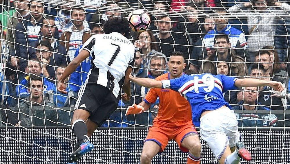 Cuadrado anota el 0-1 ante la Sampdoria