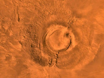 El volcán Arsua Mons de Marte