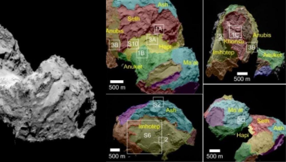 El cometa 67P y, a la derecha, éste visto desde distintas orientaciones, con las regiones delimitadas.