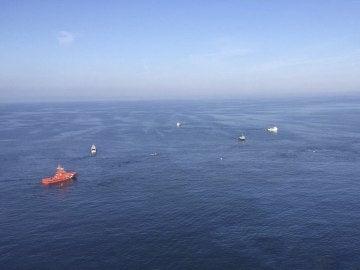 Fotografía facilitada por Salvamento Marítimo captadas desde el helicóptero Helimer 205