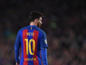 Leo Messi, durante un partido con el Barcelona
