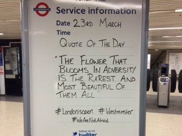El mensaje en el metro de Londres