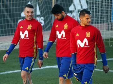 Diego Costa, en un entrenamiento con la Selección Española.