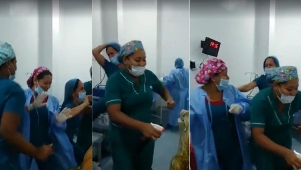 Varios momentos del baile de las enfermeras en pleno quirófano
