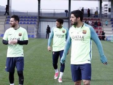 Messi, Suárez y Neymar en el entrenamiento del Barcelona