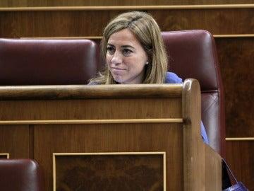 Carme Chacón, en su escaño en el congreso