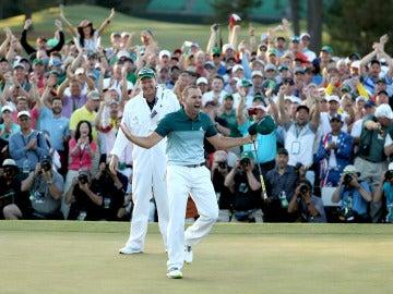 Sergio García celebra su histórico triunfo en el Masters de Augusta
