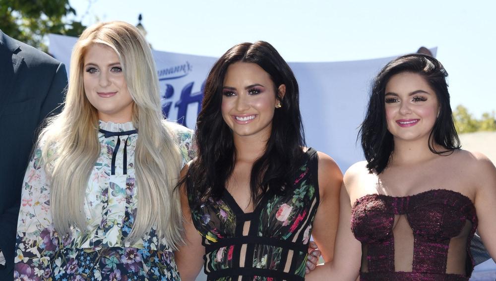 Ariel Winter, Demi Lovato y Meghan Trainor en la presentación de 'Los Pitufos: la villa perdida'