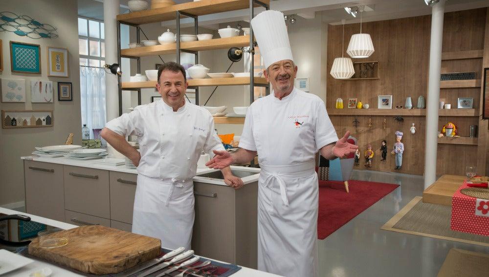 Karlos Arguiñano junto a Martin Berasategui.