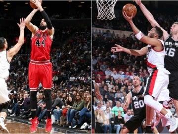 Nikola Mirotic y Pau Gasol, en acción en la NBA