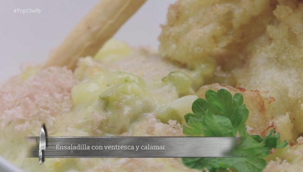 Ensaladilla rusa de calamar y ventresca de atún, con mayonesa de mejillón y salicornia