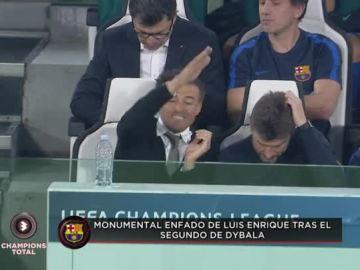 Monumental enfado de Luis Enrique tras el gol de la Juve