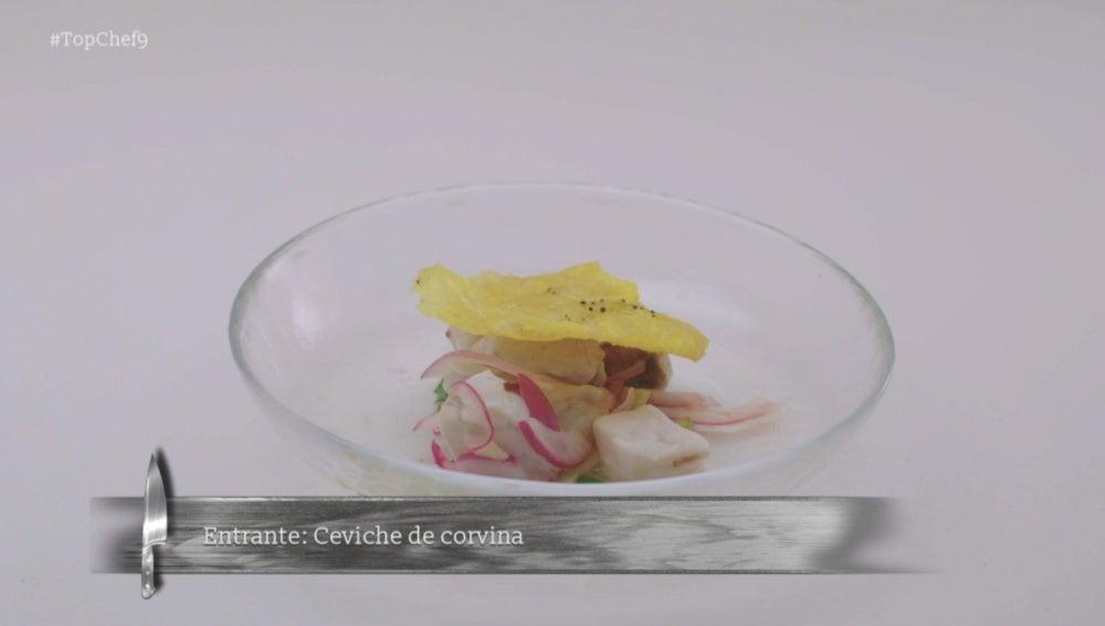Ceviche de Corvina con plátano macho