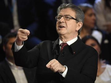 El candidato presidencial francés de la coalición de extrema izquierda La France insoumise, Jean-Luc Melenchon