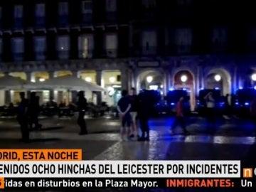 Control policial en la Plaza Mayor de Madrid